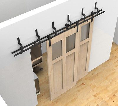 Bypass Sliding Barn Wood Door Hardware Black Rustick Barn Sliding Track Kit With Images Double Sliding Barn Doors Double Barn Doors Bypass Barn Door