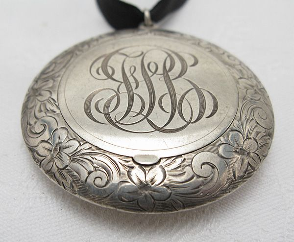 Victorian silver pill box pendant engraved monogram luis henry victorian silver pill box pendant engraved monogram aloadofball Gallery
