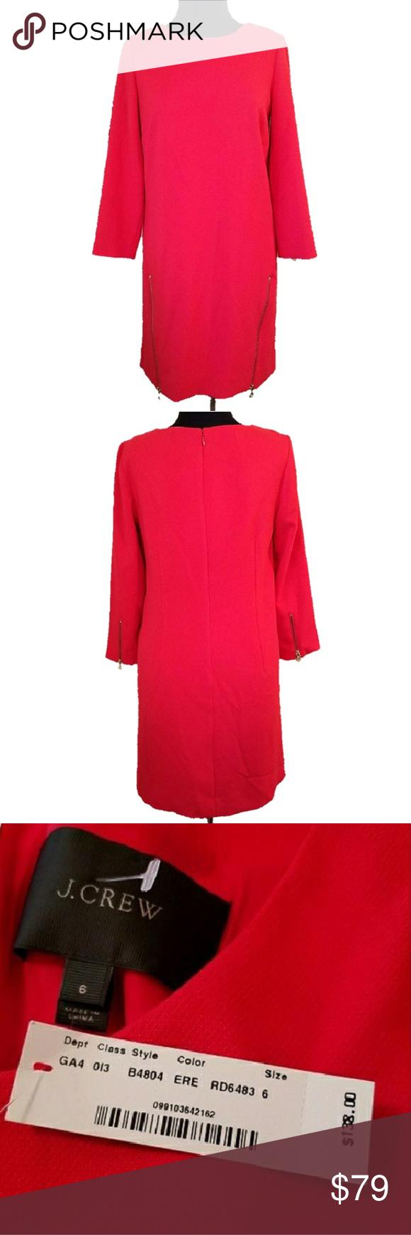 Nwt j crew red sleeve zipper shift dress nwt my posh