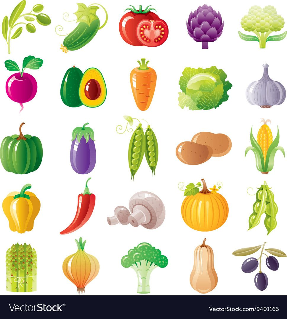 Vegetarian Food Icon Set With Organic Fruits Vector Image On In 2020