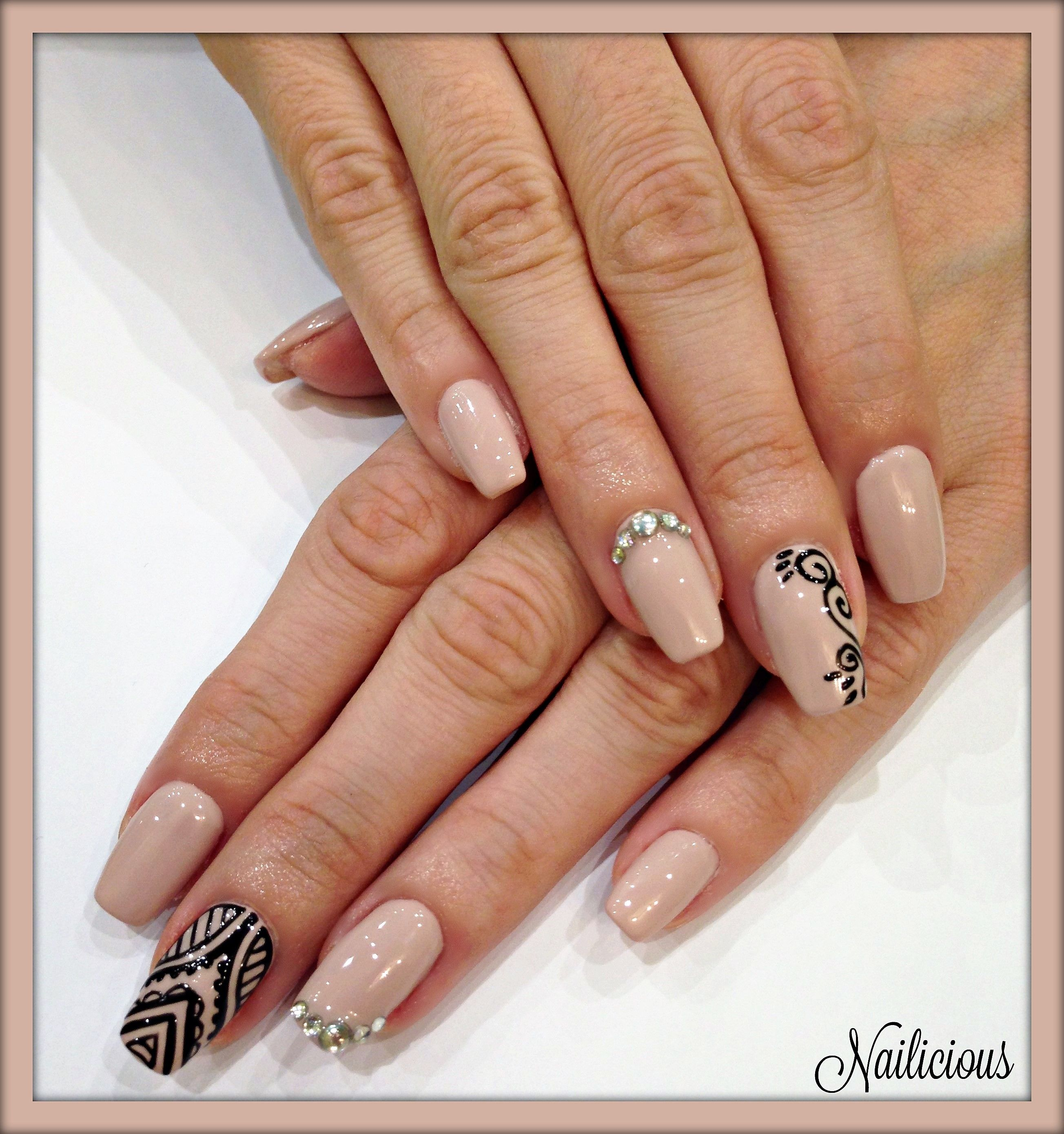 Nude nails with hand made nail art & strass | NAILICIOUS My Beauty ...
