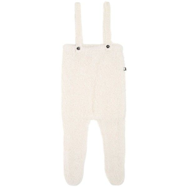 Oeuf Kids-girls Baby Alpaca Knit Pants With Suspenders (1.015 NOK) ❤ liked on Polyvore featuring off white