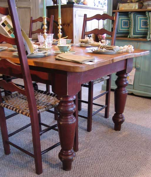 French Country Farm Table In Barn Red With An Old Wood Top Chairs Have A Snowshoe Seat So Fun By Katemadison