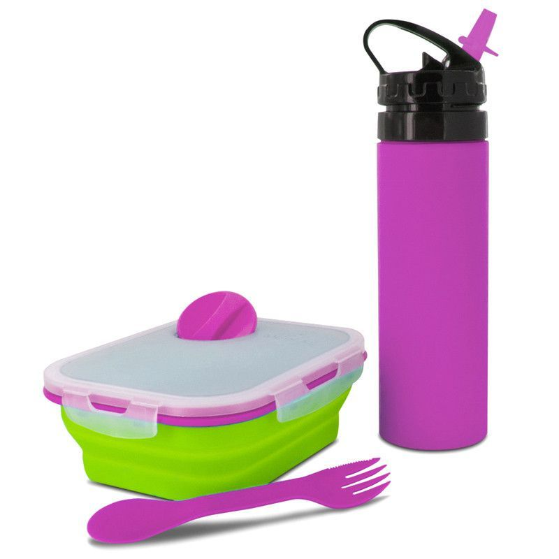 Smart Planet EC34KMSGP Pink Green 2 Pc Meal Kit and Silicone. Combo Pack Kids Meal Kit includes one Small Silicone Meal Kit and one 18 oz. Eco Silicone Squeez Bottle.Small Meal Kit has one inner compartment. Includes a reusable spork and a condiment container.Silicone Base is Microwave and Dishwasher Safe. Lid is not Microwave or Dishwasher Safe.Bottom Base compartment expands to Double the size, push down to collapse and store at half the size.Includes a dressing container and a reusable…