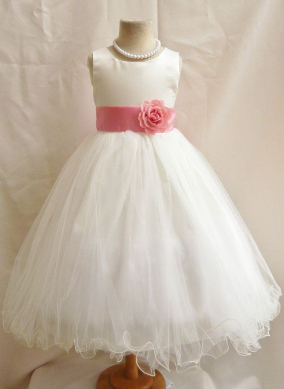 6a75665d22f8 Curly Bottom Dress Ivory with Colorful Sash (Flower Girl Dress) via ...