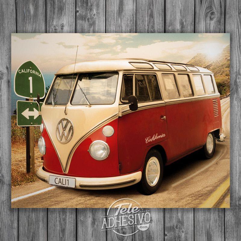 vinilos decorativos pster adhesivo furgo volkswagen california poster volkswagen t t