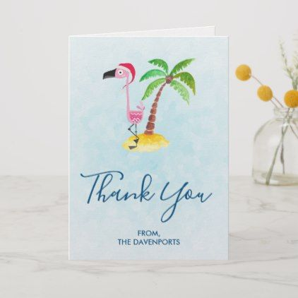 Pink Flamingo in Red Santa Hat Christmas Thank You Card in 2018