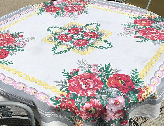 Vintage Fl Tablecloth