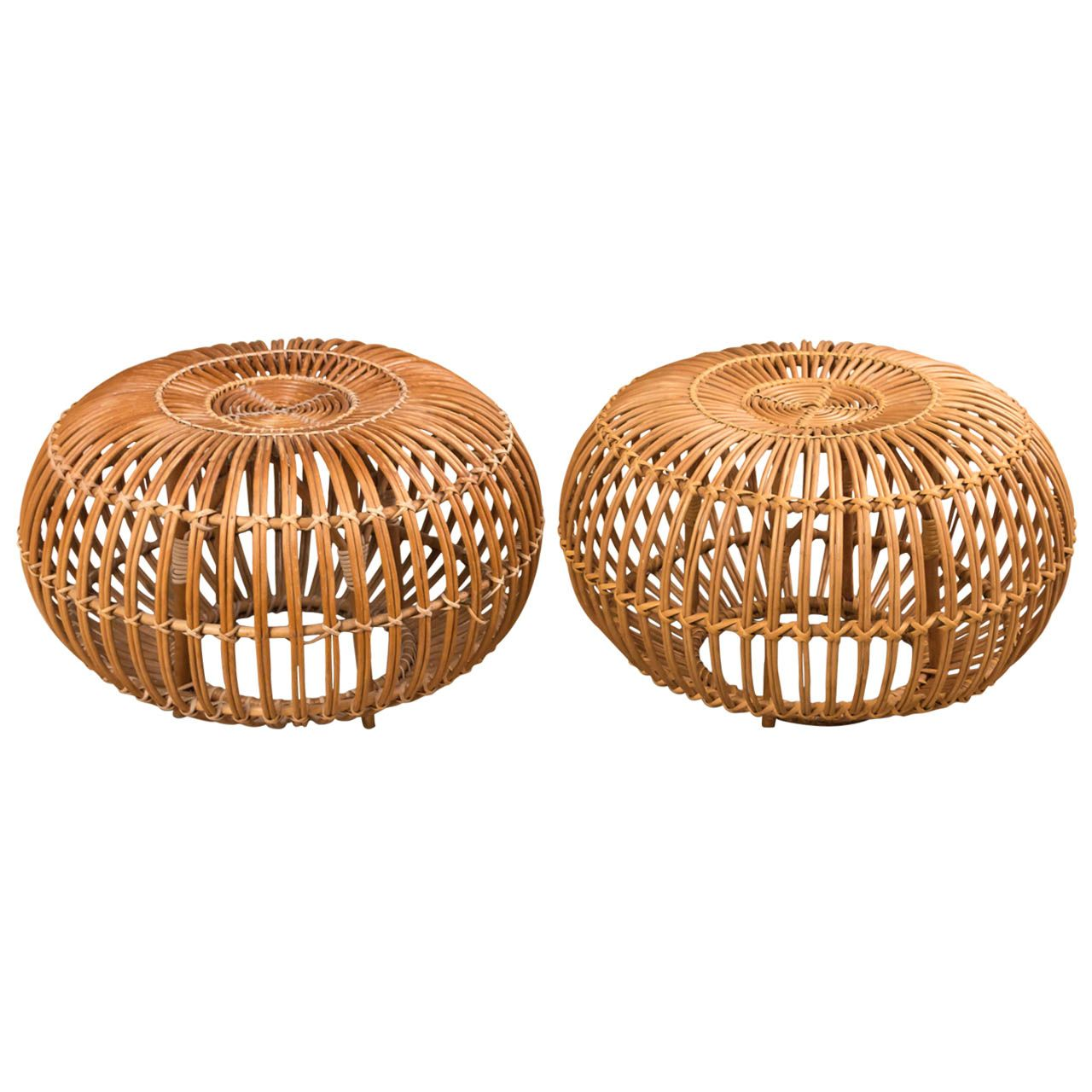 Franco Albini - Pair of Stool/Poufs | From a unique collection of antique and modern ottomans and poufs at https://www.1stdibs.com/furniture/seating/ottomans-poufs/