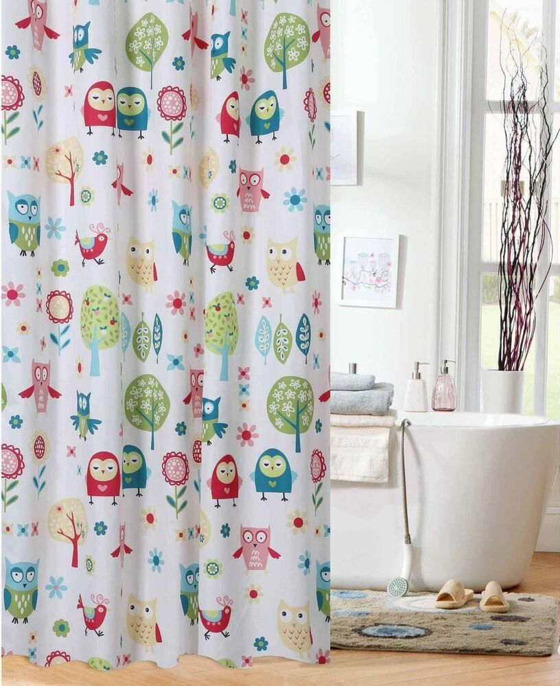 Teen Girls Fabric Shower Curtain Woodland Owls Teen Bathroom home