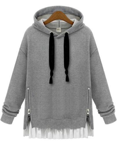 Grey Hooded Long Sleeve Zipper Loose Sweatshirt