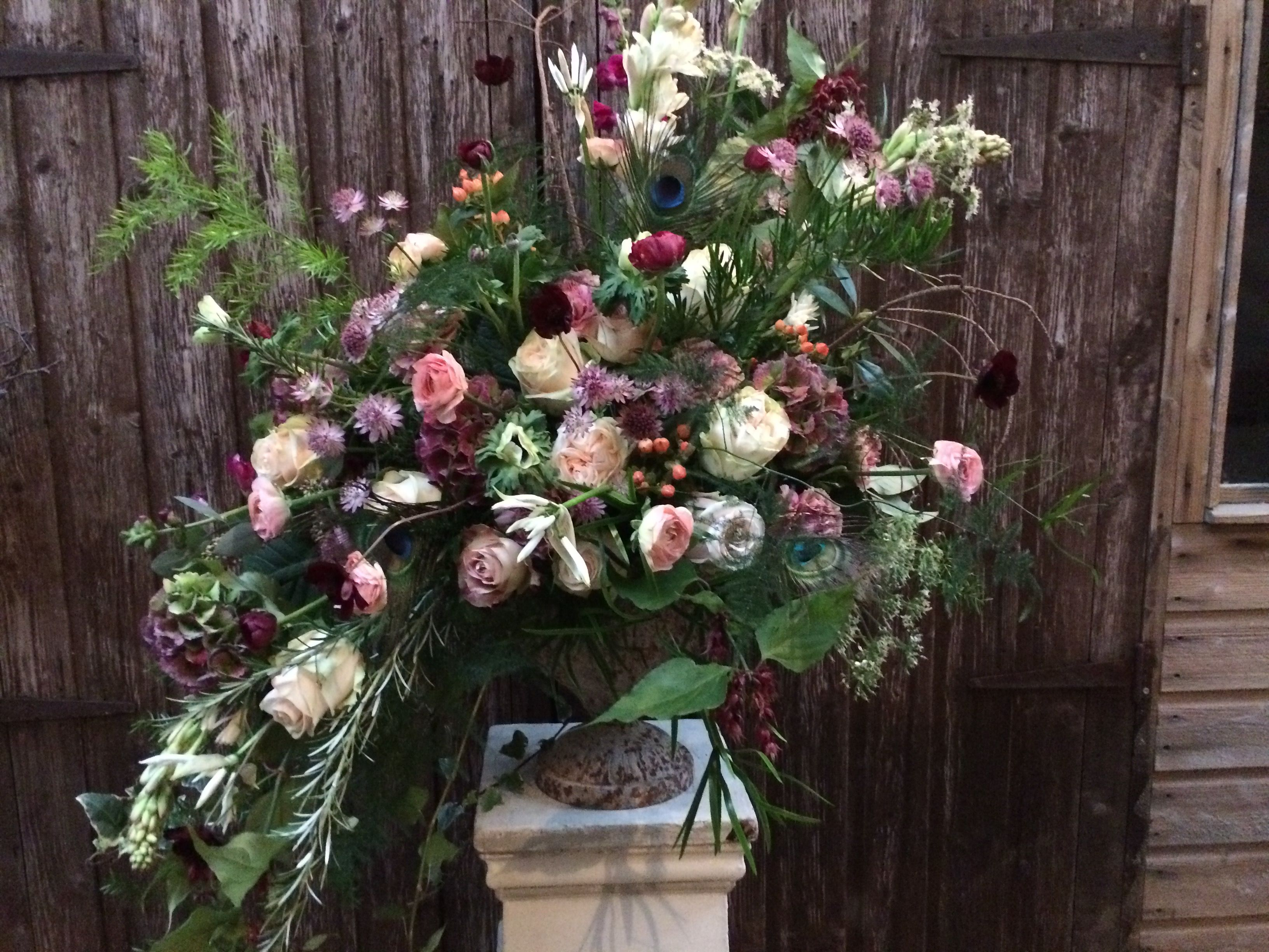 Large vintage us inspired floral urn arrangement styled