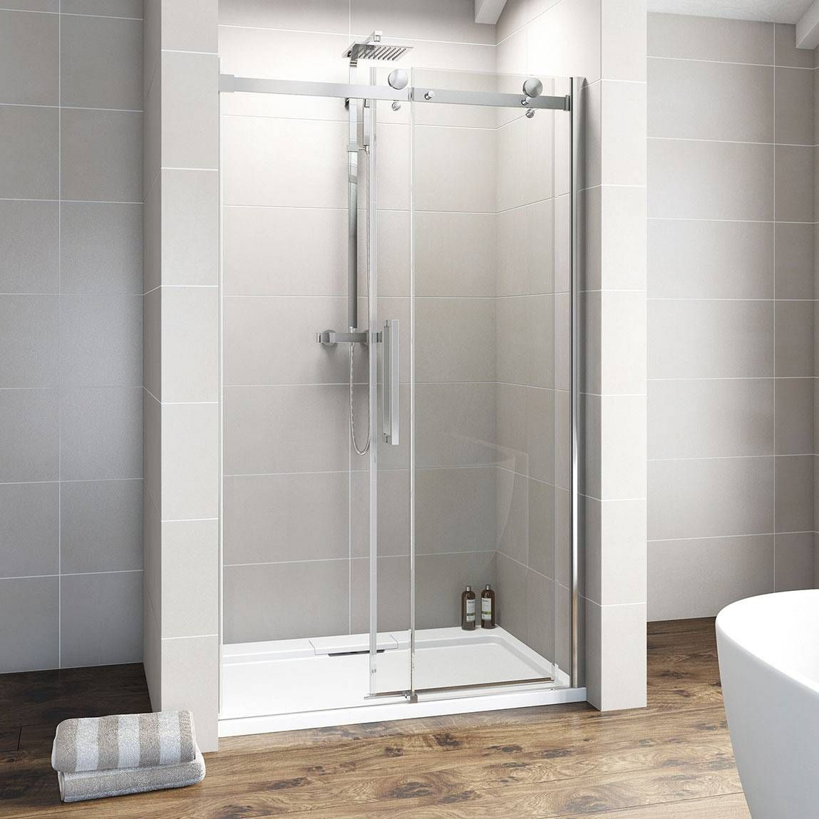 V8 8mm frameless sliding shower door 1200 victoria for Victoria plumb bathrooms uk