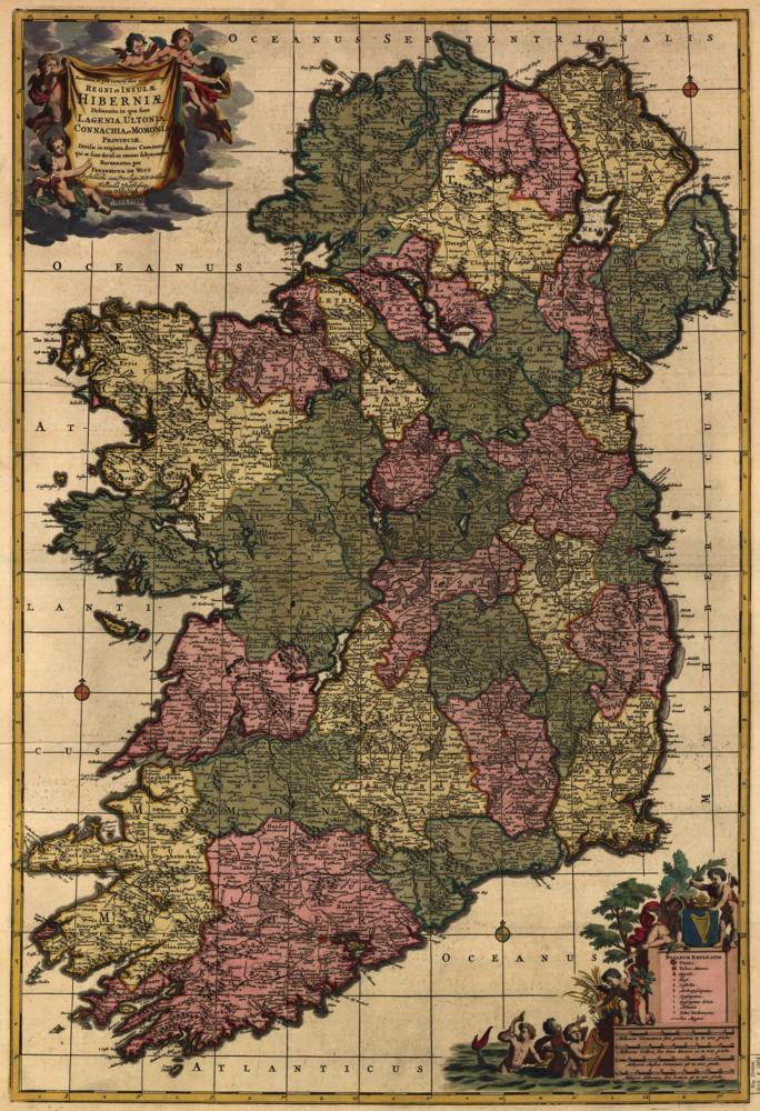 Vintage 1700 Map Of Ireland Postcard Ireland Map Panoramic Map Map Art