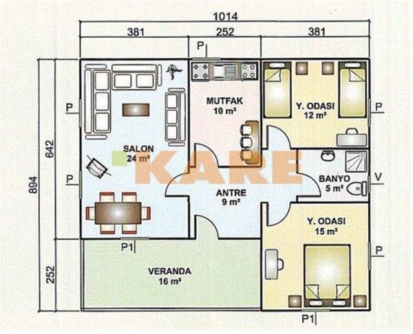 Yeni Moda Tek Katlı Ev Planları Plan örnekleri Ev Planları 2019