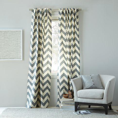 Cotton Canvas Zigzag Curtain Feather Gray Chevron Curtains Home Decor Curtains