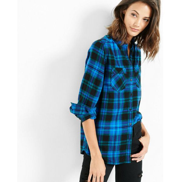 Express Blue Plaid Flannel Shirt ($70) ❤ liked on Polyvore featuring tops,  blue