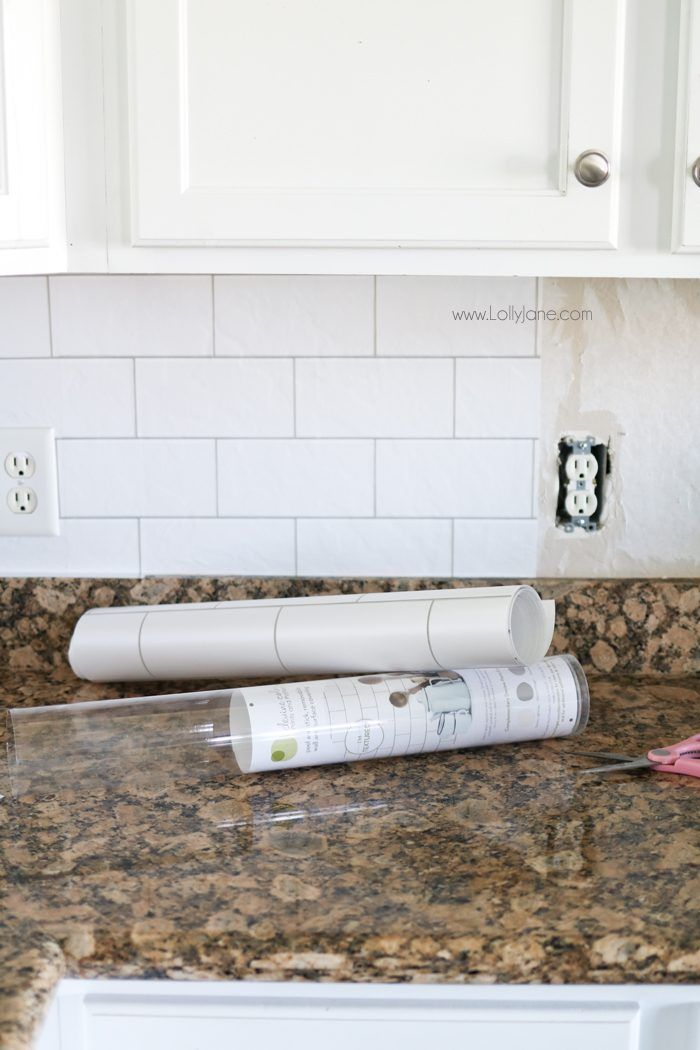 Faux Subway Tile Backsplash This Is Wallpaper Looks Like Real Tile Get The Easy H Backsplash Wallpaper Wallpaper Backsplash Kitchen Diy Kitchen Backsplash