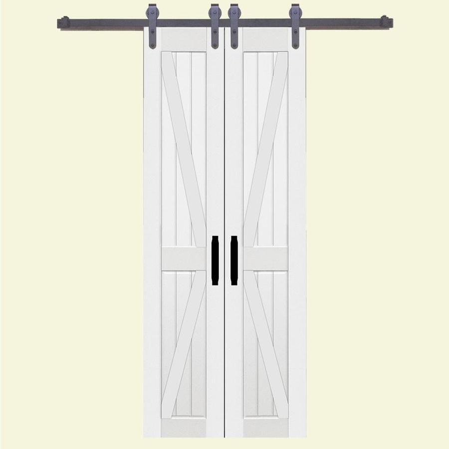 Double Barn Door 36 In X 84 In White 2 Panel Prefinished Molded Composite Double Barn Door Hardware Included Lowes Com In 2020 Barn Doors Sliding House Styles Interior Barn Doors