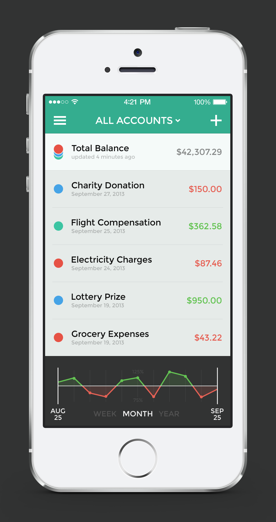 Banking app — Menu & Transactions / Jona Mobile iOS7