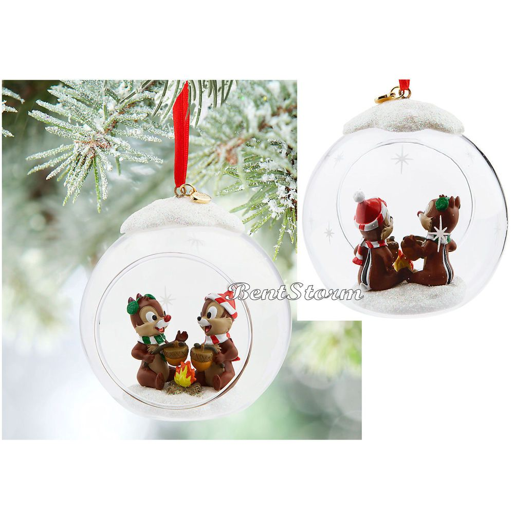 Mrs potts chip christmas decoration - 2015 Disney Store Chip N Dale Glass Globe Campfire Sketchbook Ornament Boxed Disneystore