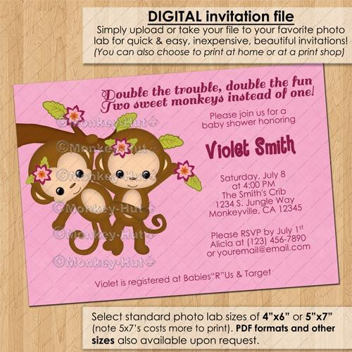 Twins Baby Shower Invitations Twin Girl Monkey Baby Shower