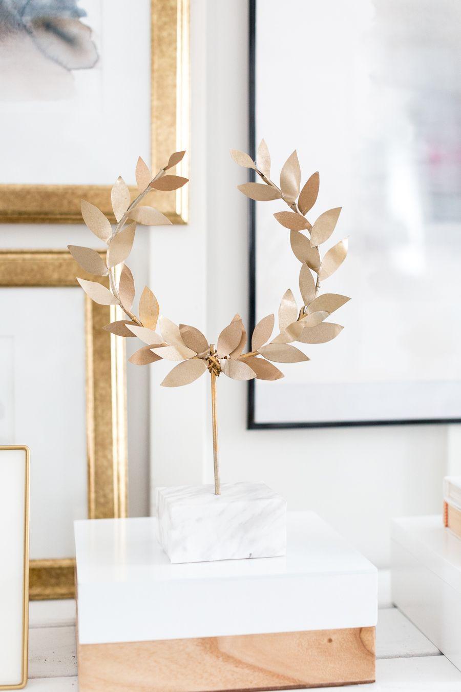Faux Kotinos Wreath Craftberrybush 17 Gold Leaf Diy Gold Diy Gold Laurel Wreath