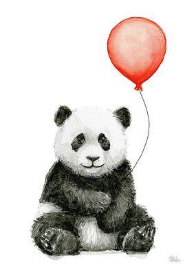 Panda Baby and Red Balloon Nursery Animals Decor by Olga Shvartsur
