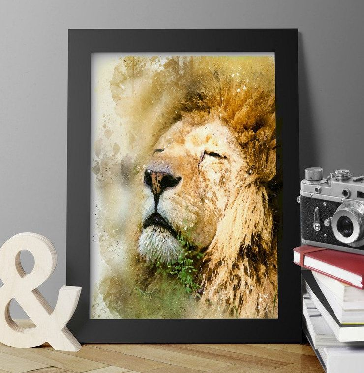 Lion Print, Lion Poster, Animal print, Watercolor Art, Instant decor, African Wall art, Instant Down