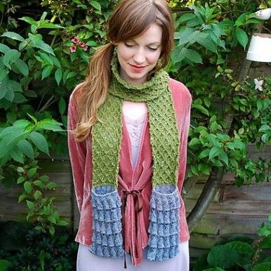 Tiny Owl Knits Moss Bluebell Pocket Scarf Knitting Pattern