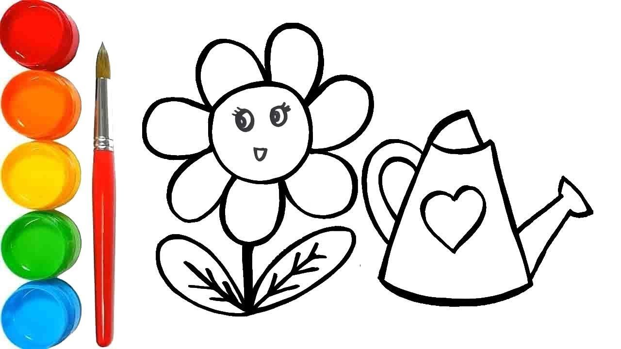 How To Draw Raibow Flowers And Coloring Pages For Kids Halaman