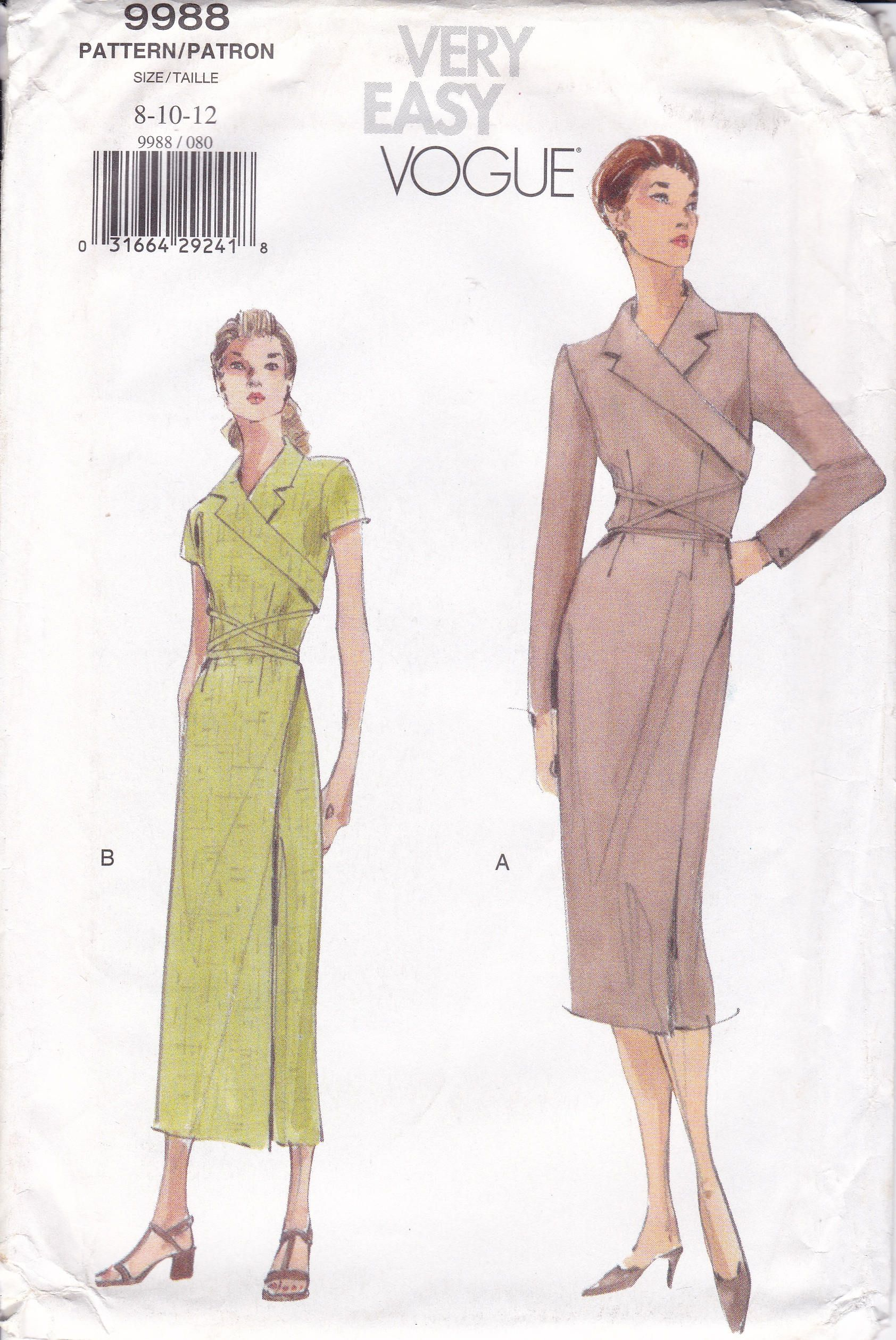 Free Us Ship Vogue Woman 9988 1990s 90s Tapered Wrap Dress Etsy Vogue Sewing Patterns Vogue Pattern Sewing Dresses [ 2516 x 1684 Pixel ]