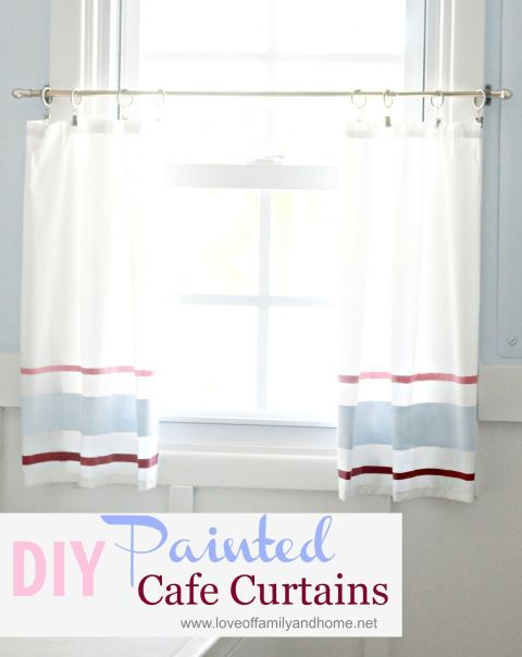 Drop a valance to the middle of the window to create cute café curtains, like these hand-painted ones. Get the tutorial at Love of Family and Home »