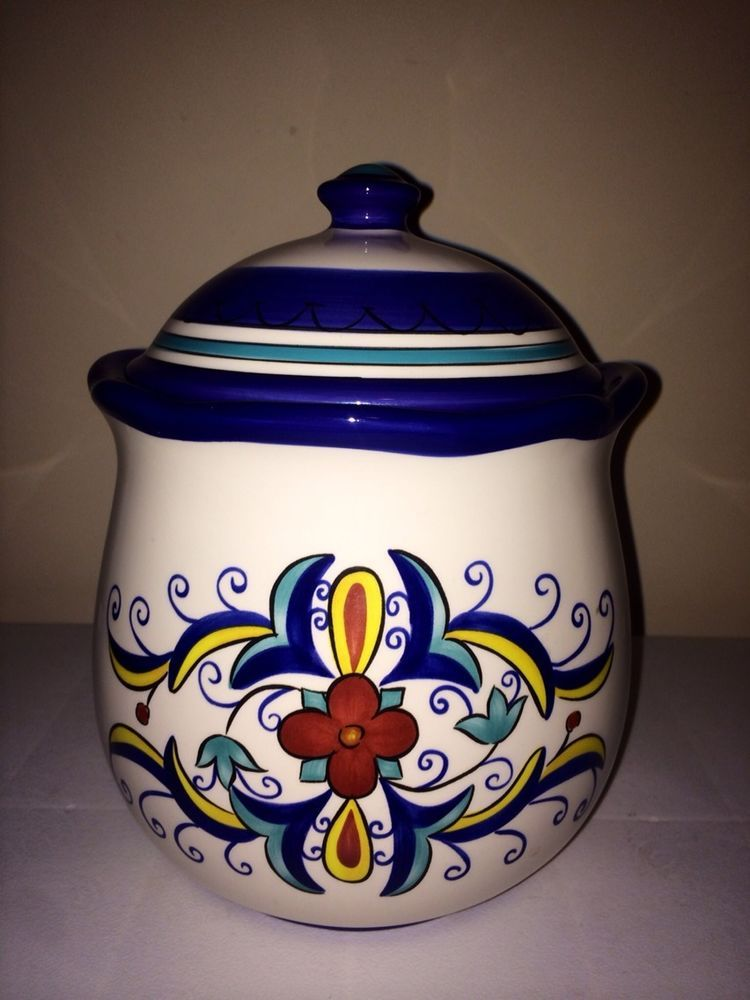 Pier 1 San Marino Earthenware Cookie Jar Storage Canister With Plastic Seal  Lid