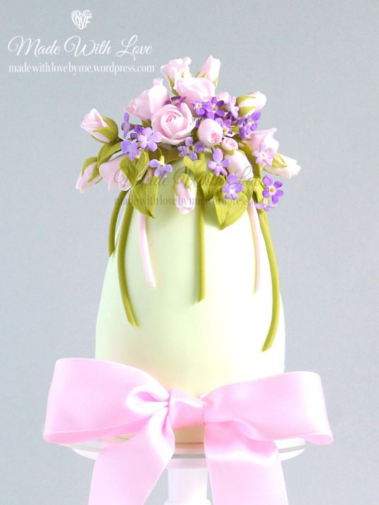 Roses and Violets Easter Egg Cake