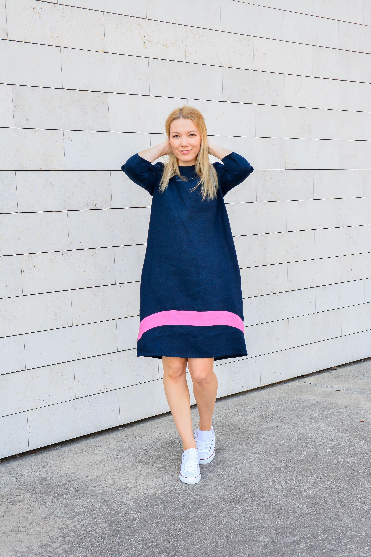 Linen dress natural linen dress blue dress made with love in