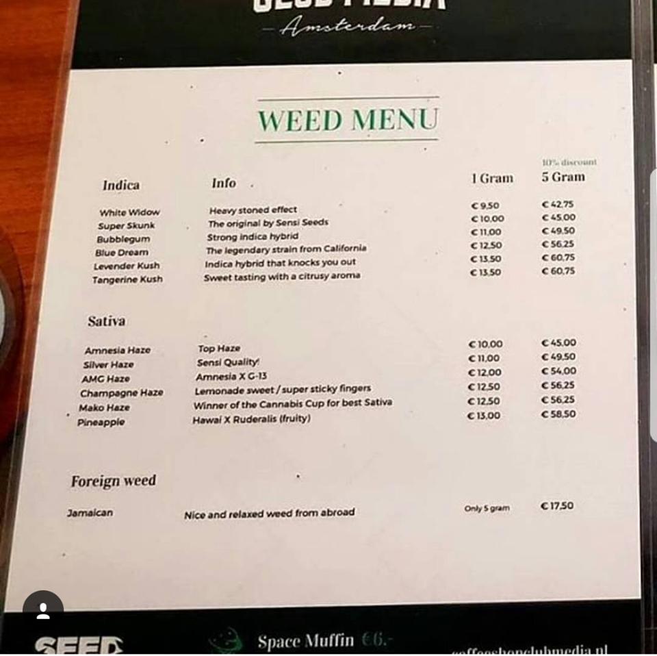 amsterdam coffeeshop menu 2018 | amsterdam | pinterest | amsterdam