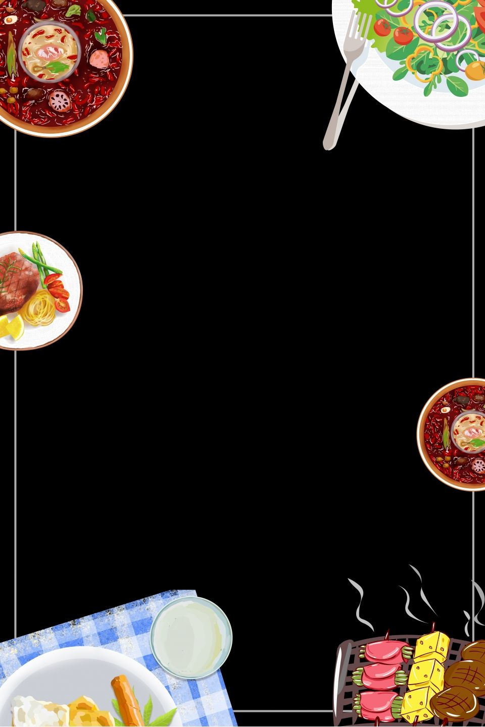 Black Background Creative Gourmet Food Business Menu Background Material In 2020 Creative Gourmet Gourmet Recipes Food Template