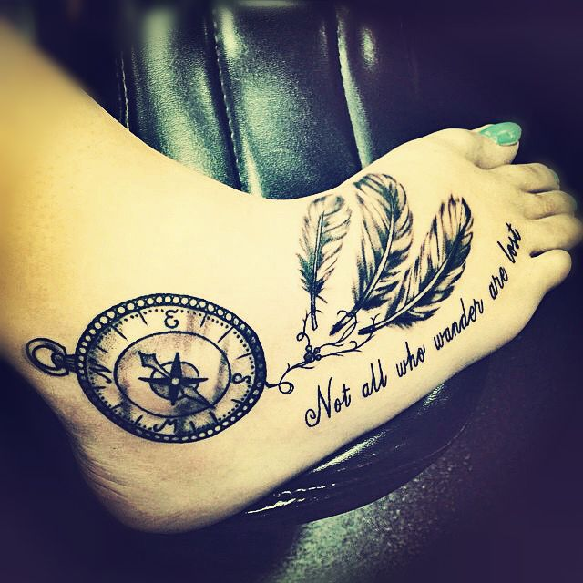 Dream Catcher Not All Those Who Wander Are Lost Compass Foot Tattoo