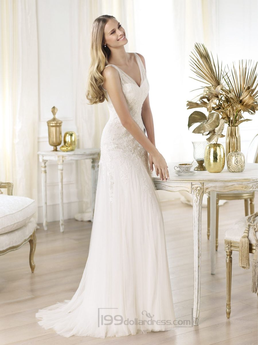Elegant semisheer draped vneck lace applique aline wedding