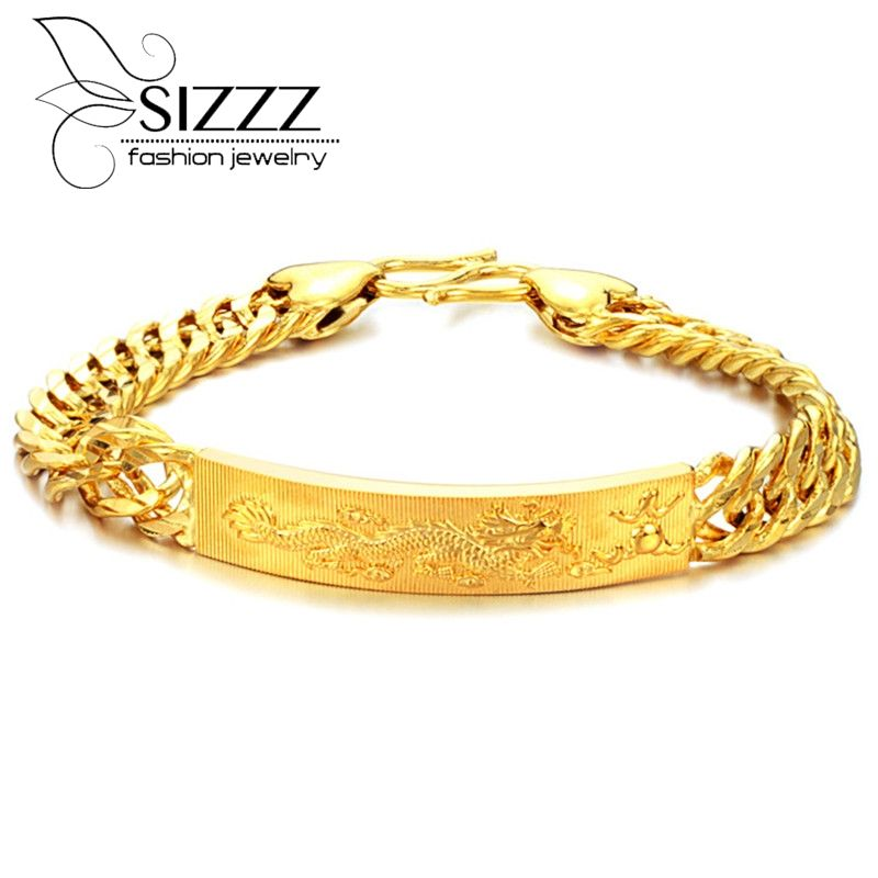 2017 Free Shipping Men Jewelry Fashion Gold Dragon Male Bracelet