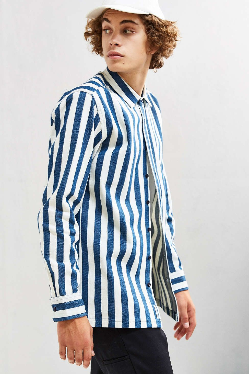 Publish Alpha Striped Denim Over Shirt - Urban Outfitters ...