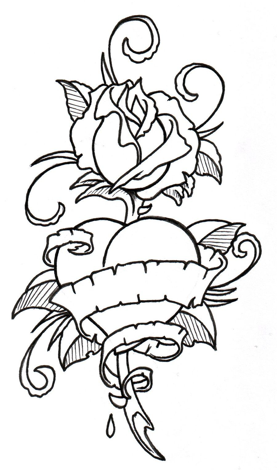 Roses Hearts Drawings : roses, hearts, drawings, RoseHeart, Outline, Vikingtattoo, DeviantART, Coloring, Pages,, Drawings,, Drawing