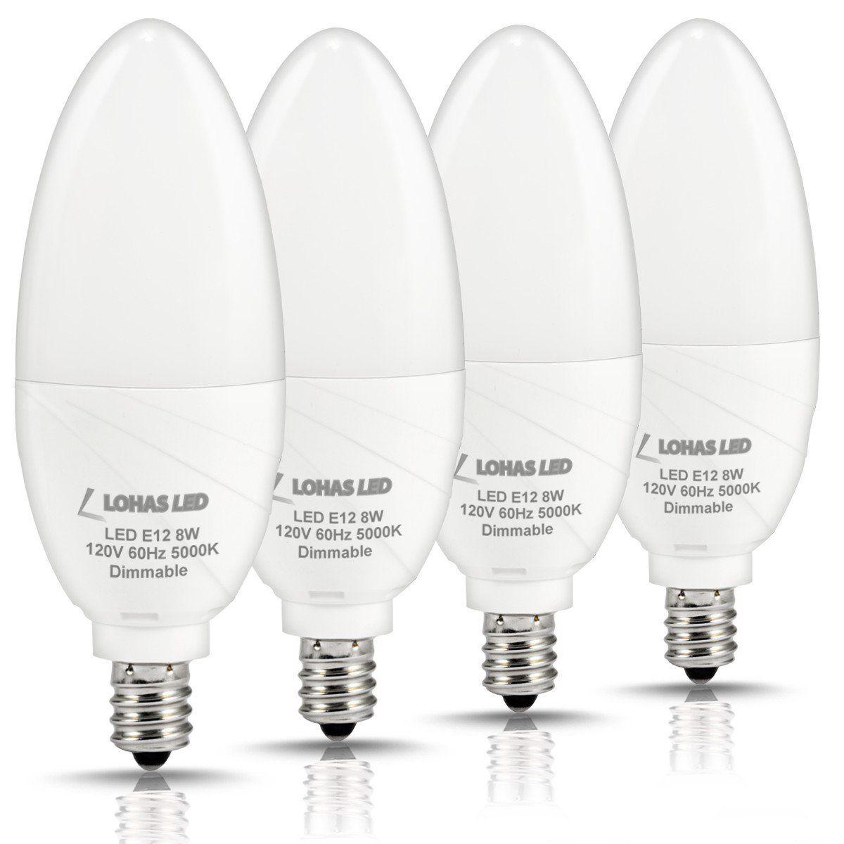 Lohas Led Candelabra Bulb Dimmable 75watt Light Bulbs Equivalent 8w Daylight 5000k 750lm E12 Base Chandelier Ceiling Fan Lamps For Home