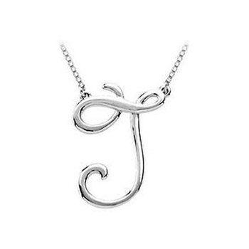 14k White Gold Fancy Script Initial B Pendant Alphabet Letter Charm Fashion