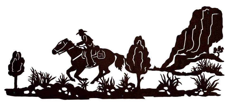 Pony Express Rider Western Metal Wall Art Sculpture 57x25 Inch