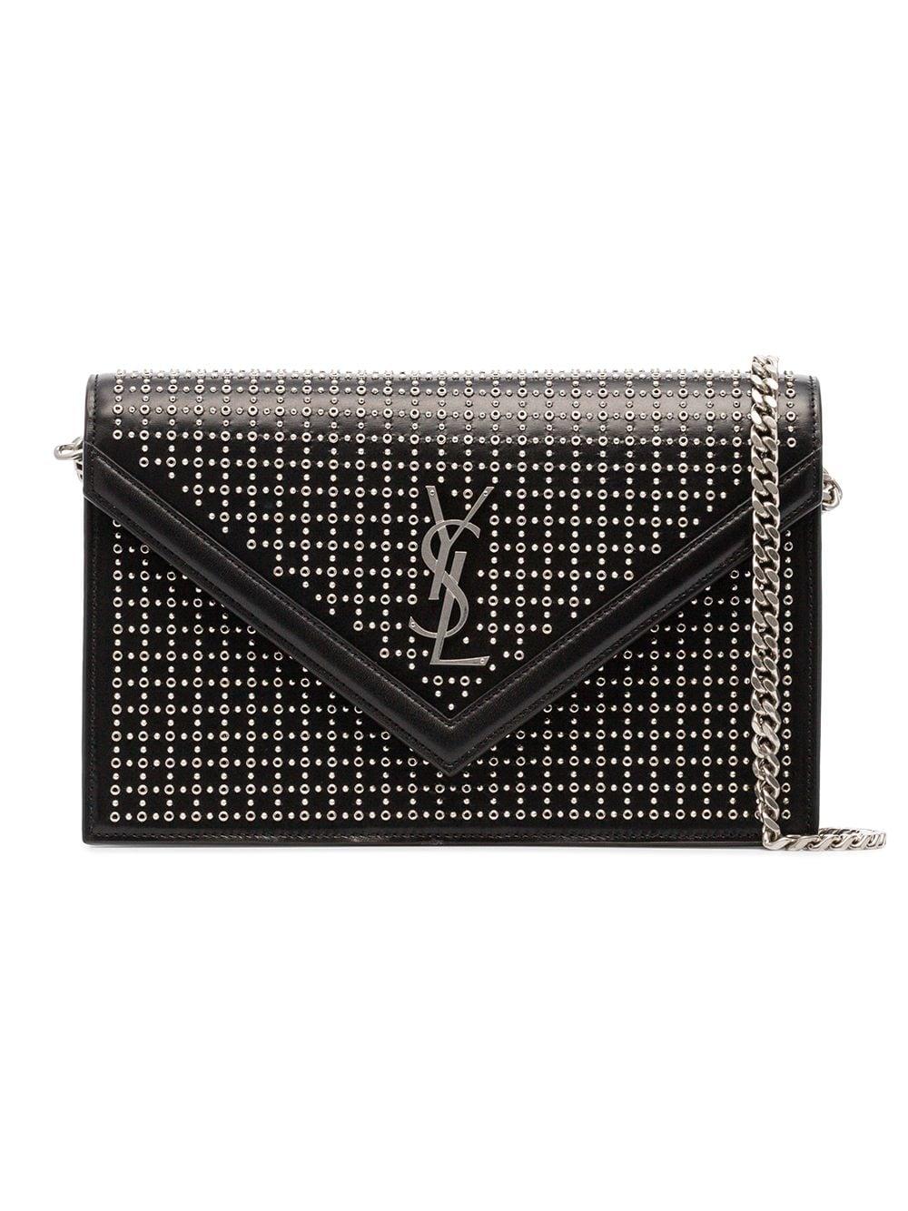 02feaf8628c Saint Laurent Black Leather Stud Le Sept Envelope Bag in 2019 ...