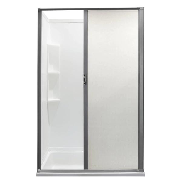Rv Retractable Rolling Shower Door Platinum In 2020 Shower Doors