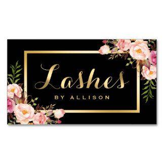 Lashes script modern makeup black gold floral business card more lashes script modern makeup black gold floral business card more colourmoves
