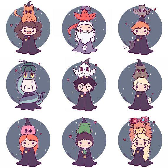 Hp Chibi Stickers Or Mini Prints 6x8 Harry Ron Hermione Luna